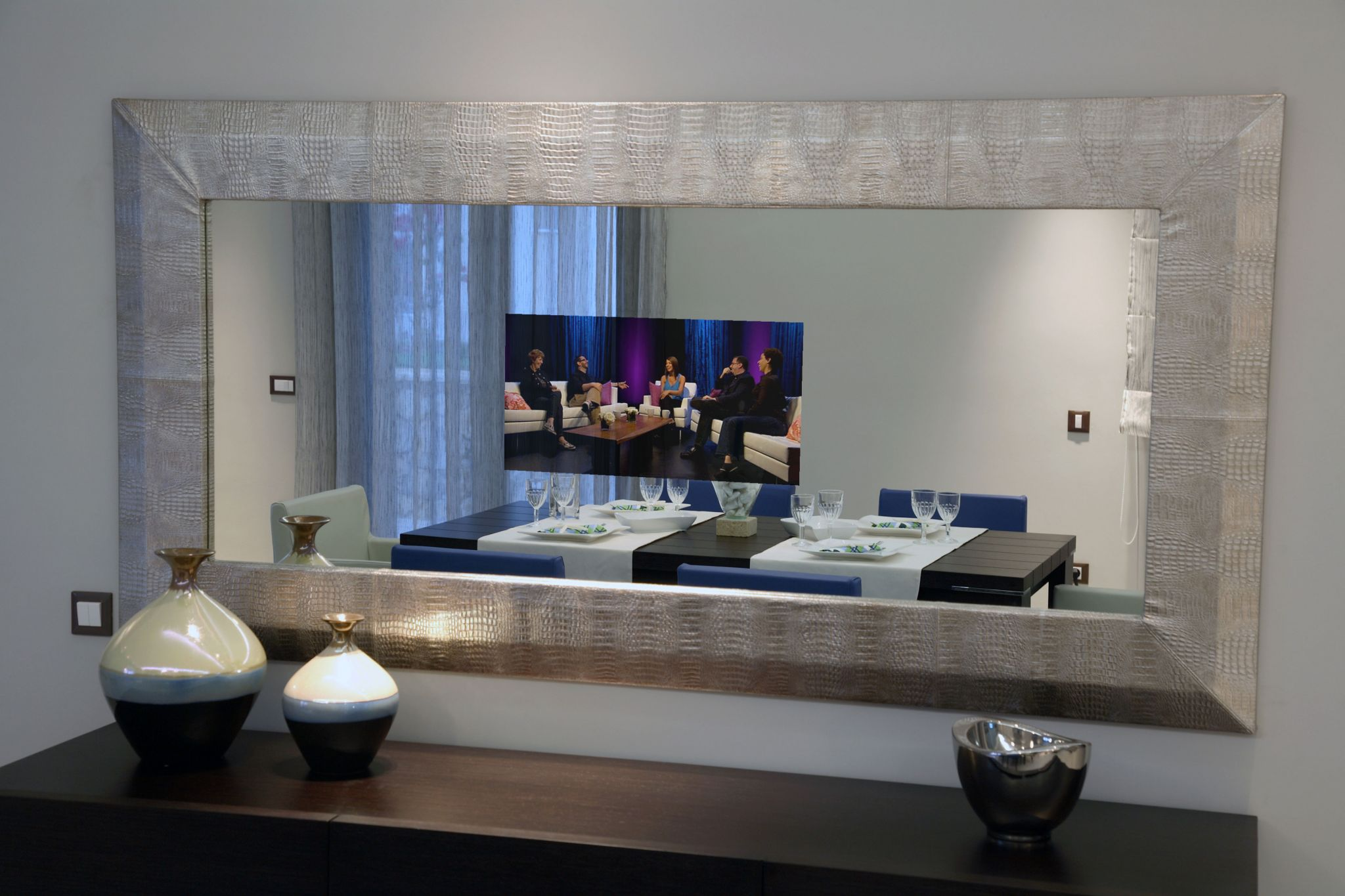 Refine Your Mirror And Or Glass Tv By Adding A Modern Traditional Frame To It Of Choice